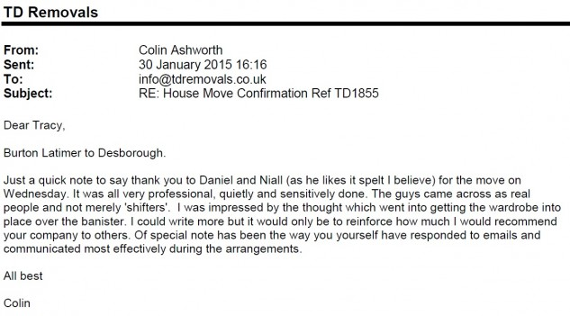 Colin Ashworth House Move and Piano Move Burton Latimer to Desborough