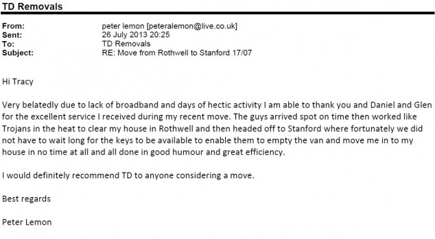 Peter Lemon House Move Rothwell Northants to Stanford